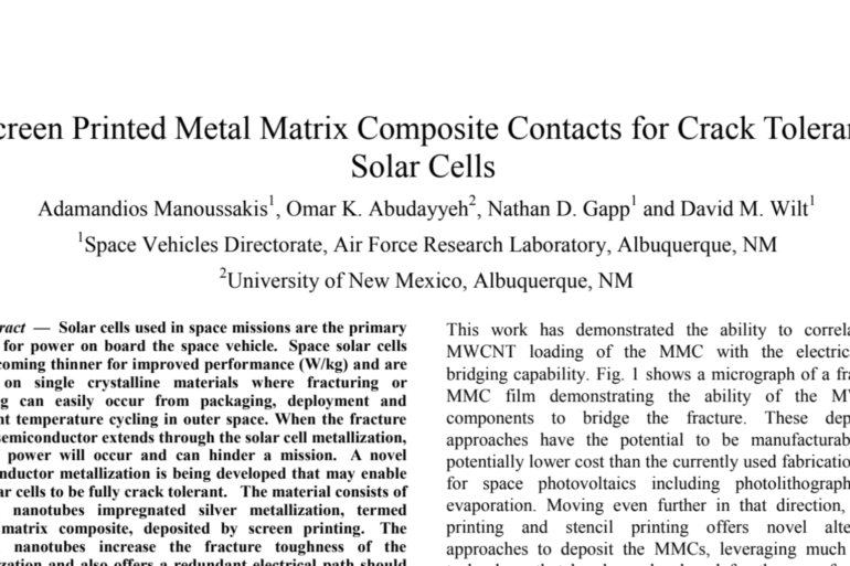 Screen Printed Metal Matrix Composite Contacts for Crack Tolerant Solar Cells